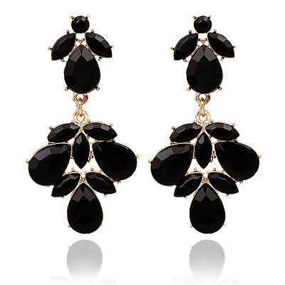 Gold Tone Black Teardrop rhinestone Crystal Dangle Stud Earring Party jewelry