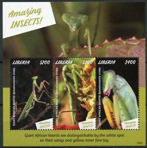 Glorieux Liberia 2019 Neuf Sans Charnière Fabuleux Insectes Géant Africain Mantis 3 V M/s Timbres-afficher Le Titre D'origine Performance Fiable