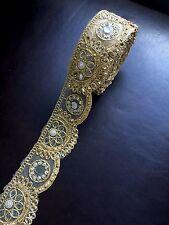"1 meter gold diamante lace trim stones beads mirrors ribbon border craft edge 3"""