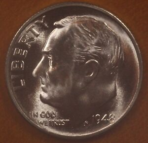 90/% Silver US Coin 1948 D Roosevelt Dime CHOICE BU LUSTER