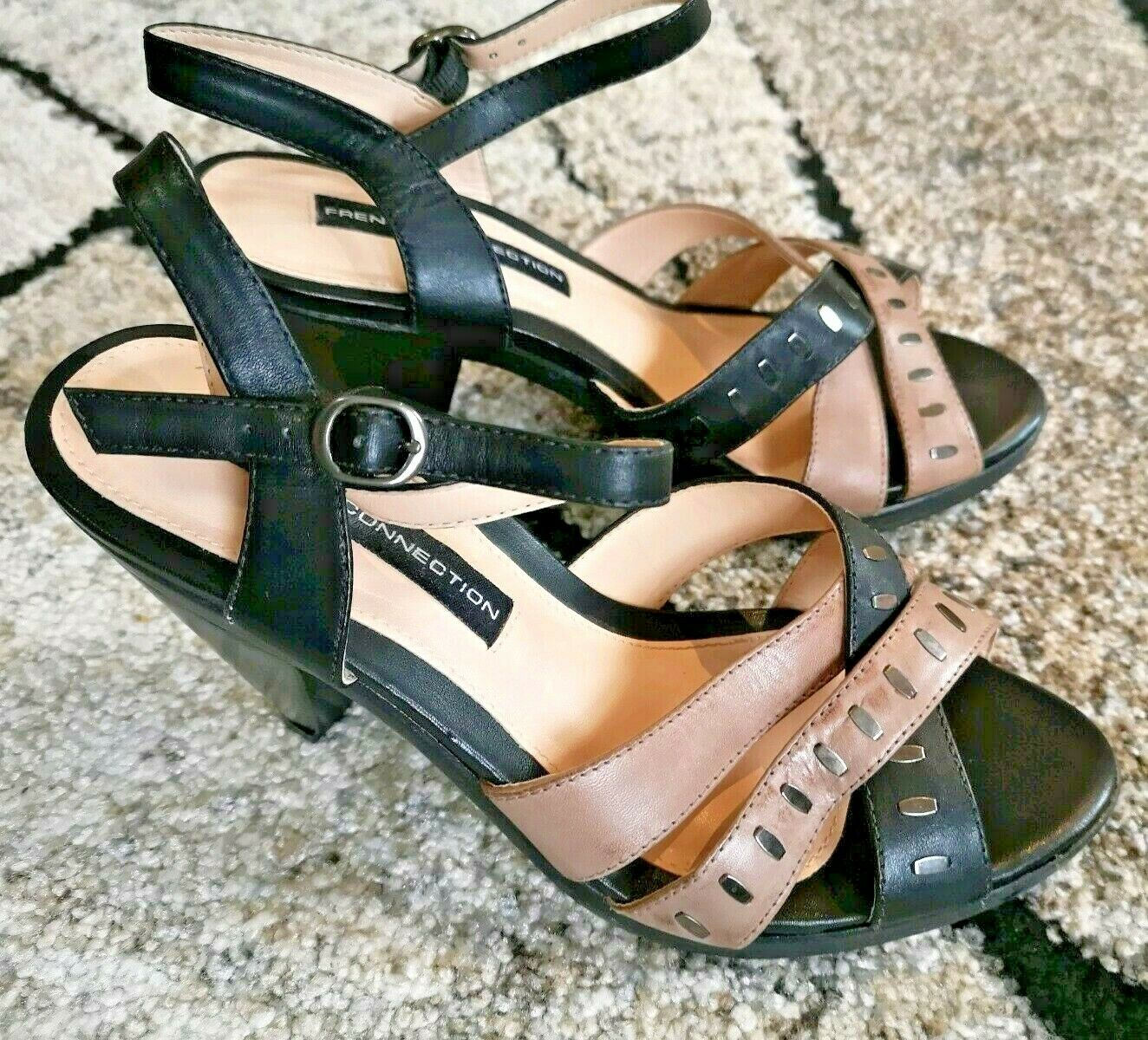 French Connection Heeled Leather Sandals Black & Brown Studded EU 36 UK 4