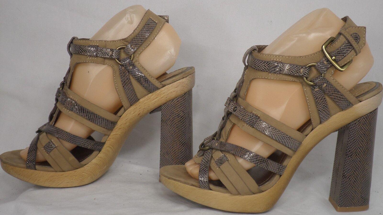 Joan & David 'Sweetlyn' Brown with Snakeprint Leather Platform Sandal Size 9 M