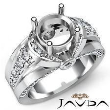 Diamond Engagement women's Designer Ring 18k White Gold Round Semi Mount 0.9Ct