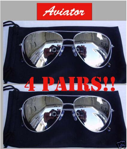 33a4263534 4 Pairs Men Classic Silver Mirror Top Gun Aviator Sunglasses for sale online