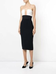 ALEX-PERRY-Austin-Fitted-Dress-Navy-amp-Ivory-Size-6-Worn-Once-RRP-1650