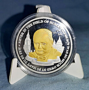 Winston-Churchill-Gold-Silver-Coin-Medal-World-War-I-Planes-II-London-Old-Retro