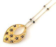 Kite Shape Yellow Gold CZ Black Flowers Pendant & Necklace w/ Black CZ's Silver