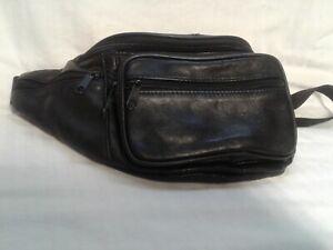 Men Women Genuine Leather Black Fanny Pack Waist Bag Hip Belt Pouch Travel Purse