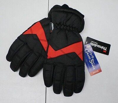 RJM Kids Girls Boys Black Thinsulate Lined Fleece Warm Winter Gloves Ages 6-13