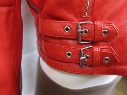Fashions Slim Red Fitted Napa Bike Biker Ladies Short Jacket Leather Tight 8B7qFwF