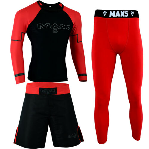 Max5 No Gi  BJJ Grappling Rash Guard MMA Short Compression Leggings 3Pcs Red