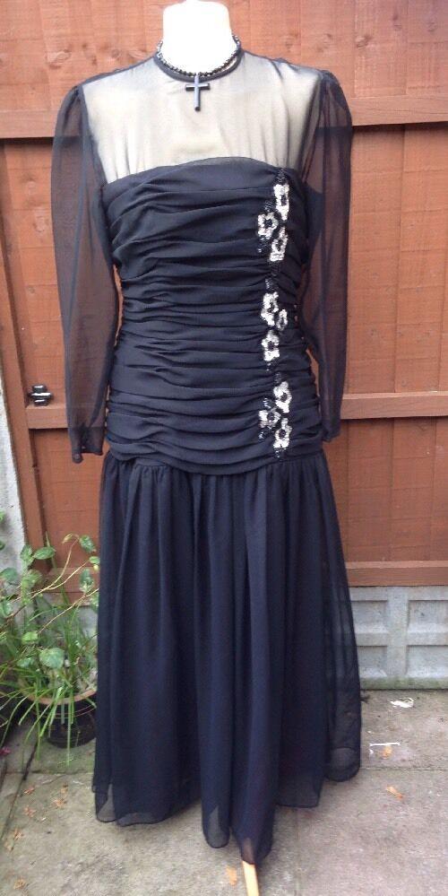 Vintage John Charles schwarz Cocktail Prom Party Evening Dress Größe 16