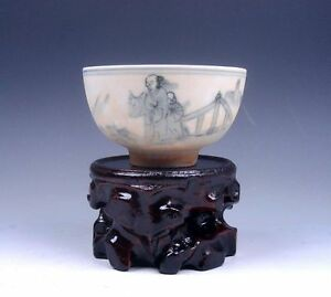 Ship-From-U-S-Chinese-Antique-Ceramic-Ancient-Figurines-Painted-Bowl-amp-Stand
