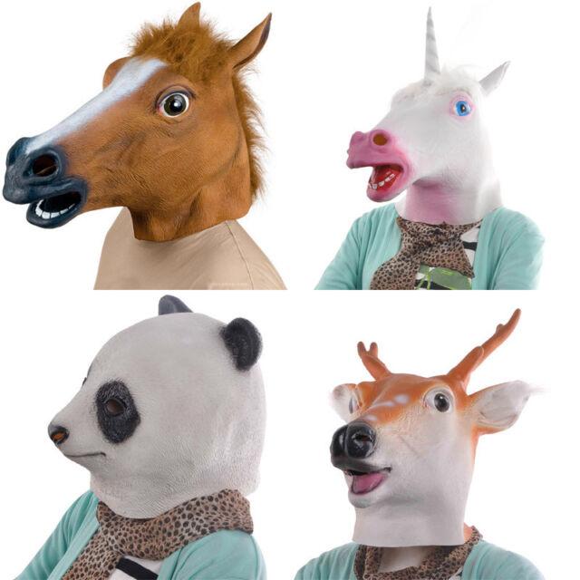 Horse Unicorn Panda Deer Head Mask Creepy Halloween Costume Theater Prop Adult