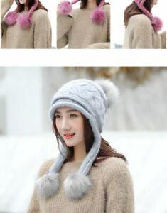 New Women Ear Flap Hats Thick Warm Fleece Lined Pom poms Rabbit Fur Ski Winter