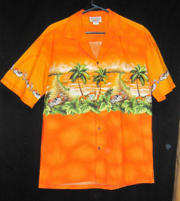 Pacific Legend Hawaiian Shirt Men's Large Orange with Motorcycles palm trees