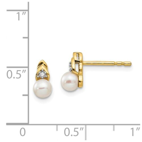 14k Yellow Gold Diamond and Freshwater Pearl Earrings 9x5 mm 1.08gr