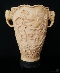 Large-Composite-Oriental-Elephant-Handled-Vase-32cm-Tall-FREE-Delivery-UK