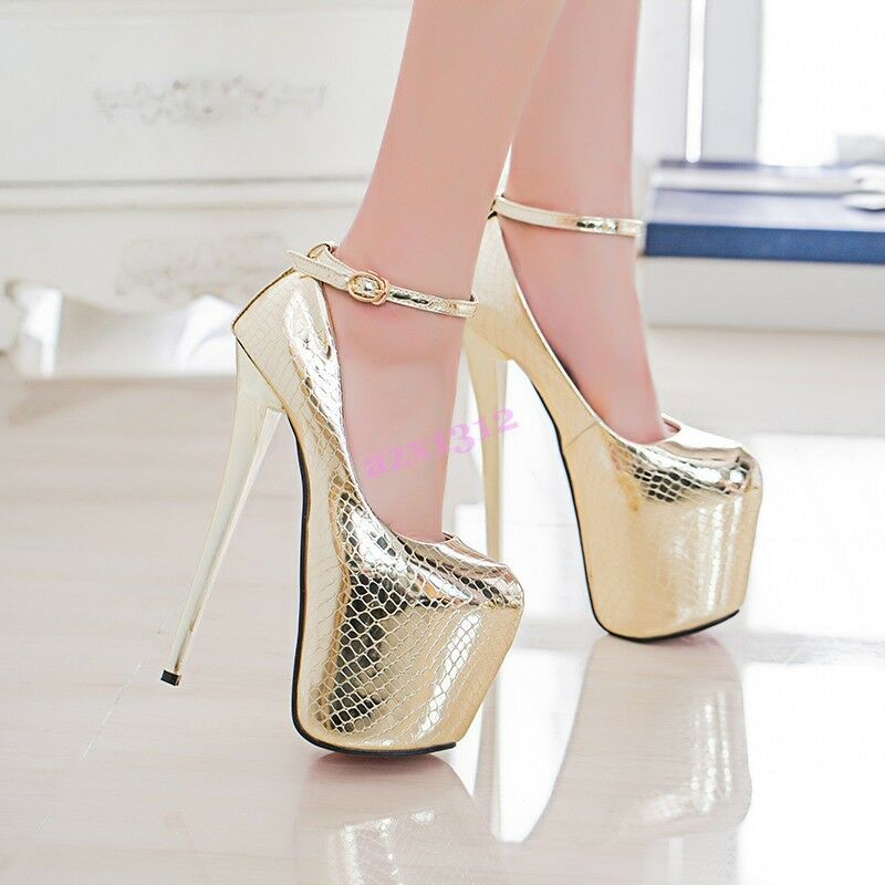 New femmes chaussures Shiny Leather  Night Club Super High Heels Platform Strap Party