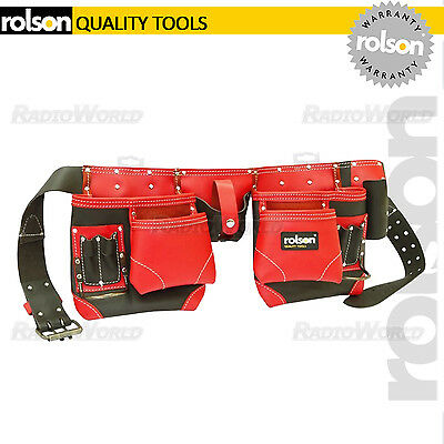 Rolson 10 Pocket Professional Double Oil Tanned Red Leather Tool Belt reinforced
