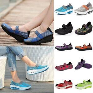 Shape-Ups-Walking-Fitness-Toning-Shoes-Womens-Platform-Wedge-Creeper-Sneakers