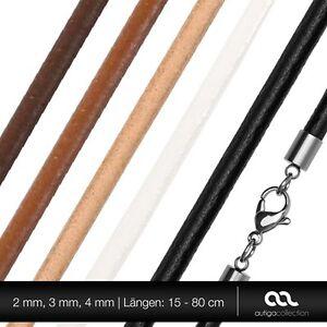 Lederkette-Halskette-Lederband-Kette-Echtleder-Rindsleder-Karabiner-Edelstahl