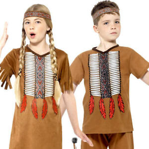 Details about Native American Kids Fancy Dress Wild West Western Red Indian Childrens Costume