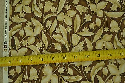 """Tan Leaves on Brown Quilter/'s Cotton Hobby Lobby 45/"""" By-the-Half-Yard M6429"""
