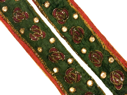 Vintage Sari Border Hand Beaded 1 YD Indian Trim Sewing Deep Green Lace ST1441