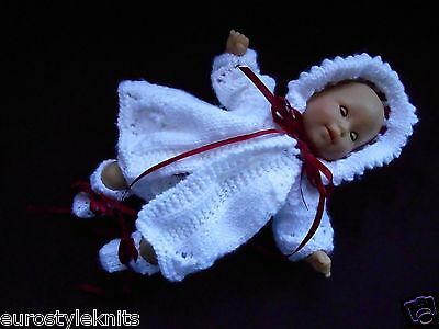 Doll Clothes Hand-Knitted Vintage Style White Matinee Set 4 pcs fit 12in.