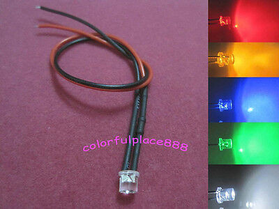 1.8mm 6V//12V Red Yellow Blue Green Warm White Water Clear Pre-Wired LED Leds New