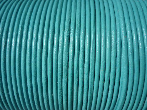 10 mètres cordon cuir lacet cuir bleu turquoise Ø 2 mm