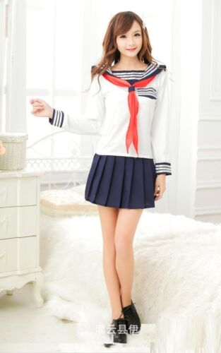 Uniform Japanese Style Sleeves Sweet School Girl Cosplay Fancy Dress Size S-M
