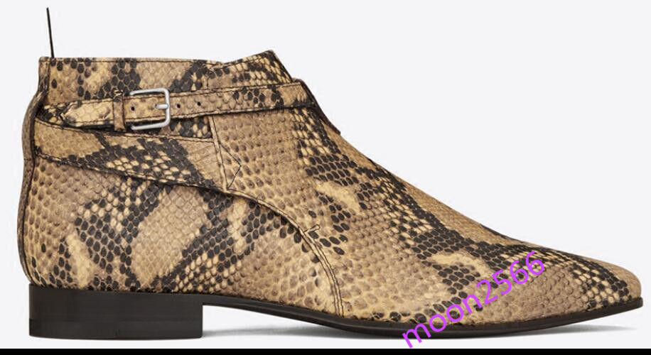 New Mens Chelsea Pointy Toe Ankle Boot Retro Snakeskin shoes Real Leather Buckle