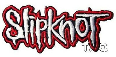 white Embroidery Metal Band Slipknot Sew Iron On Patch Badges Hat Applique 219