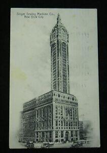 Antique-Singer-Sewing-Machine-Co-New-York-City-Building-Postcard-1909