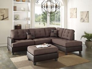 Admirable Details About Casual Modern Look Tufted Sofa Chaise Ottoman Sectional 3Pc Set Chocolate Linen Customarchery Wood Chair Design Ideas Customarcherynet