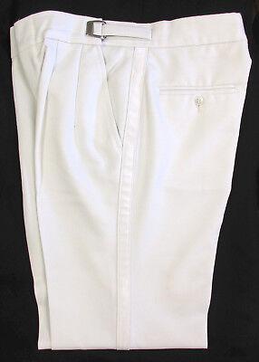 adjustable waist Pleated front Boy/'s White Tuxedo Pants with Satin Stripe