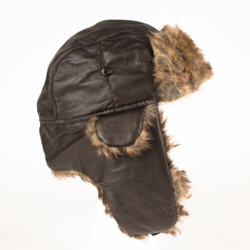 Aviator Shiny Faux Luxurious Leather Russian Style Thermal Trapper Hat