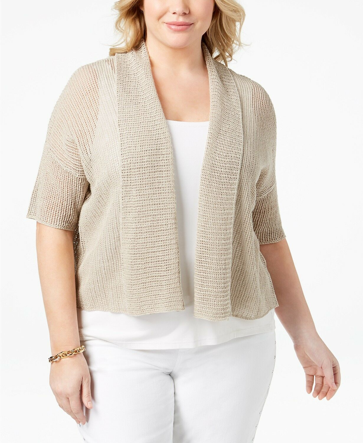 Eileen Fisher Organic Linen Cropped Cardigan Farbe  Unnatural Beige 2X NWT