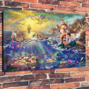 Mermaid-Ariel-Children-039-s-Art-Printed-Canvas-Picture-A1-30-034-x20-034-30mm-Deep-Frame