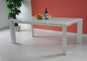Tavolo Allungabile Moderno Cristallo.Tavolo Allungabile Vetro Bianco Cristallo Sala Da Pranzo Moderno