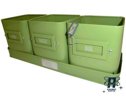 NUOVO VINTAGE Burgon /& Ball Crema /& Verde Smalto Metallo Set di 3 vasi erbe Fioriere