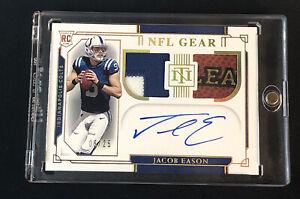 2020 National Treasures NFL Gear Jacob Eason Gold Holo /25 Patch Auto