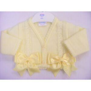 Kinder Baby Girls Spanish Portuguese Romany Lemon Knitted Bolero Bows Cardigan