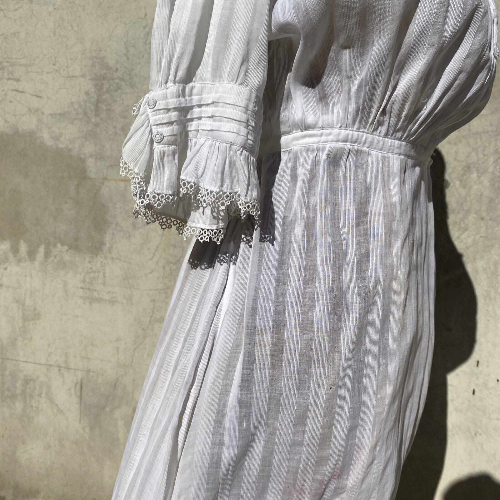Antique Edwardian White Cotton Tea Dress Maxi Lac… - image 9