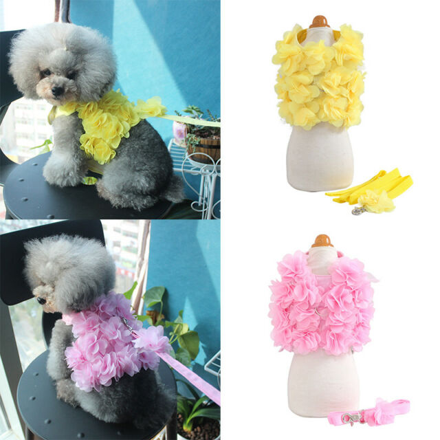 Pet Dogs Flower Design Thoracodorsal Traction Rope Leash Vest Dresses