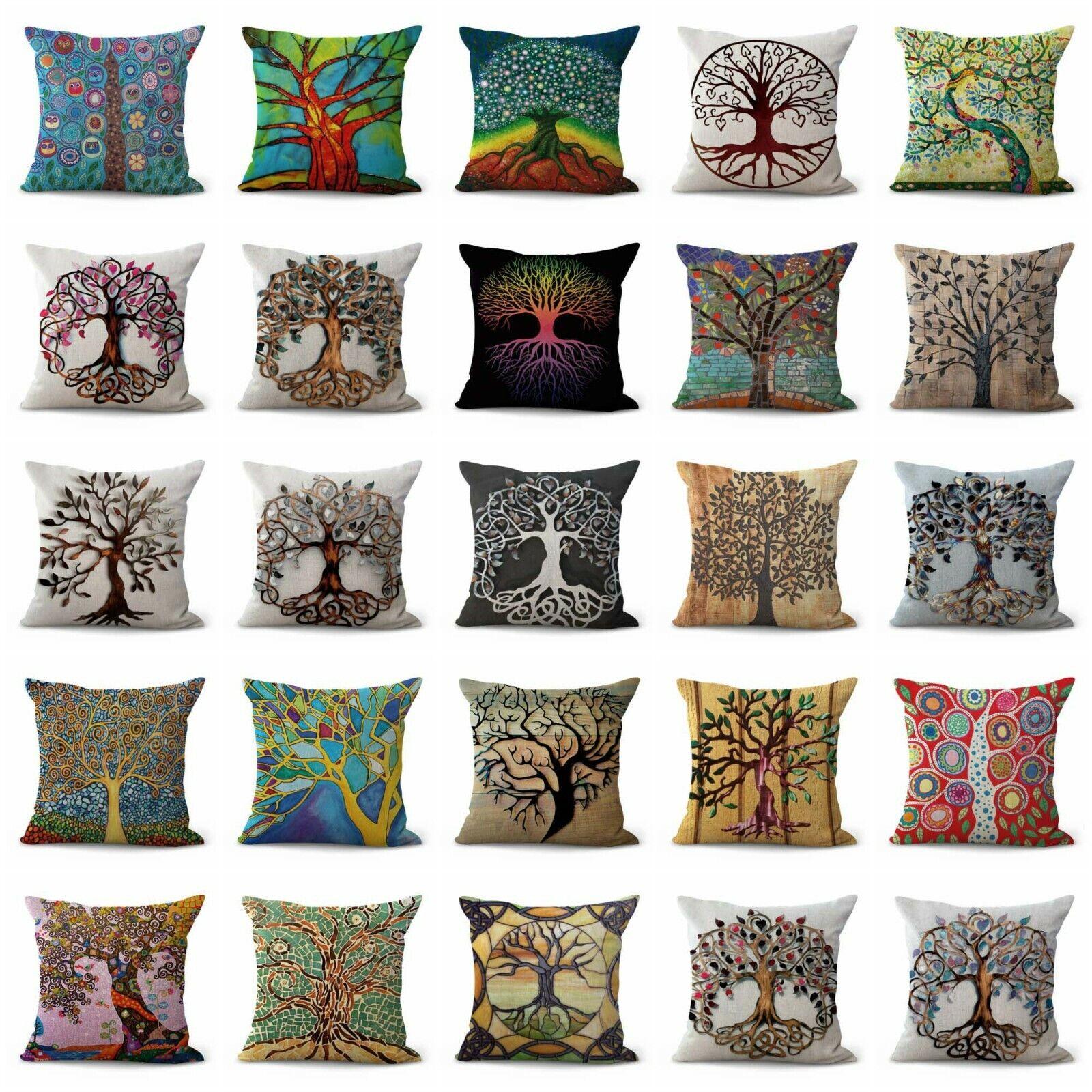 US Vendeur-Lot de 20 taies d'oreiller décoration arbre de vie housses de coussin