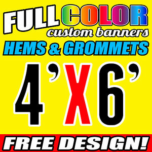 Custom 4' x 6' FT Banner 16oz Vinyl/Flex Outdoor premium Quality Advertise Sign