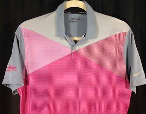 Nike-Golf-Tour-Performance-Dri-Fit-Mens-Short-Sleeve-Pink-Gray-Polo-Shirt-L